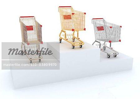 Shopping carts on a podium