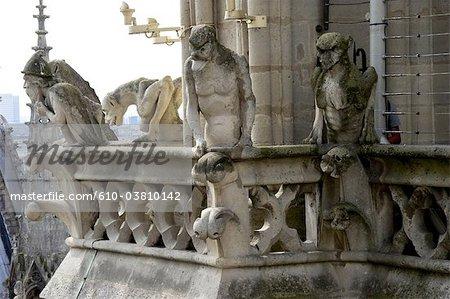 France, Paris (75), Ile de France, gargoyles of Notre Dame