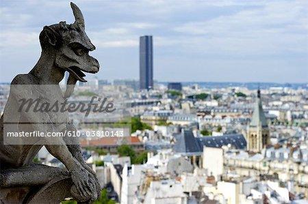 France, Paris (75), Ile de France, gargoyle of Notre Dame