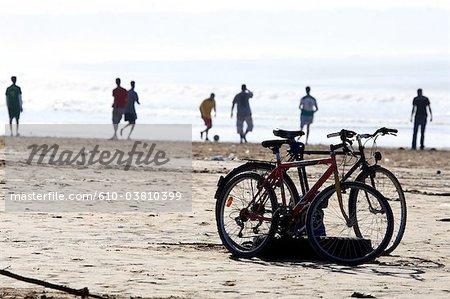 Morocco, Agadir, football players on the beach
