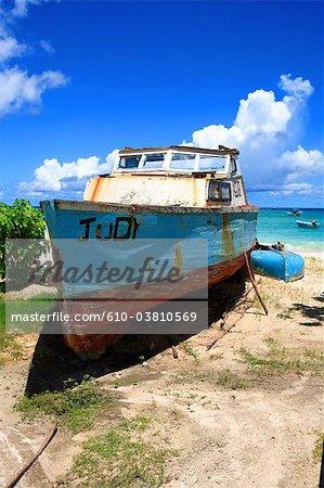Barbados, Oistins, boat on the beach