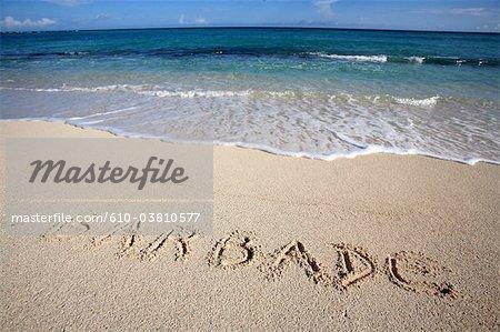 Barbados, handwriting on the sand