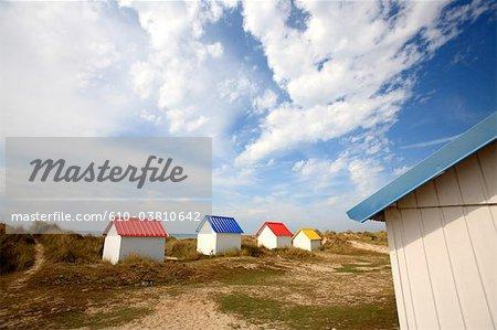 France, Normandy, Gouville sur Mer, beach huts