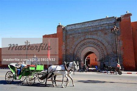Morocco, Marrakech, Bab Agnou, carriage