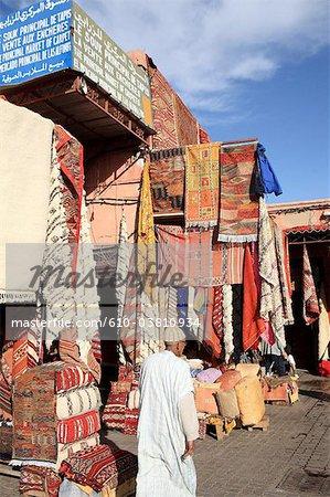 Morocco, Marrakech, souk, carpets