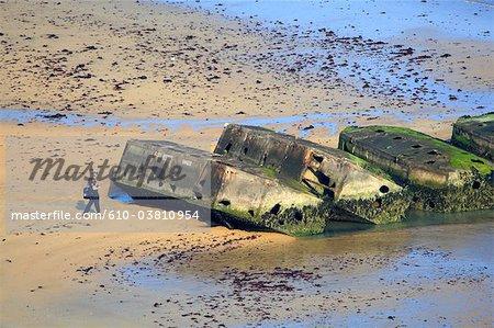 France, Normandy, Arromanches, artificial harbour