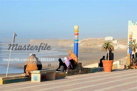 Morocco, Tiznit, Aglou beach, embankment