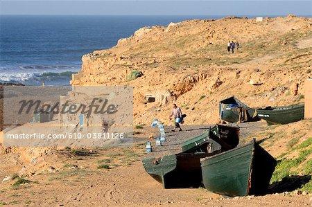 Morocco, Tiznit, Aglou beach, boats