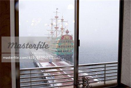 Japan, Hakone, lake Ashi, galleon which connect banks