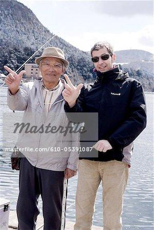 Japan, Hakone, lake Ashi, fishermen