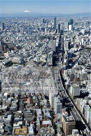 Japan, Tokyo, Shibuya and mount Fuji in the background