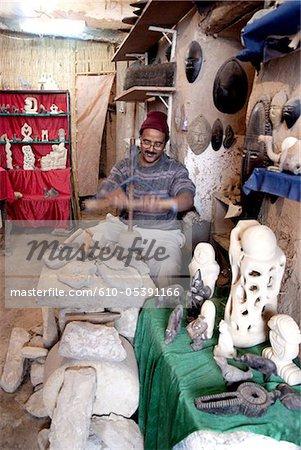 Morocco, Taroudant, sculptor