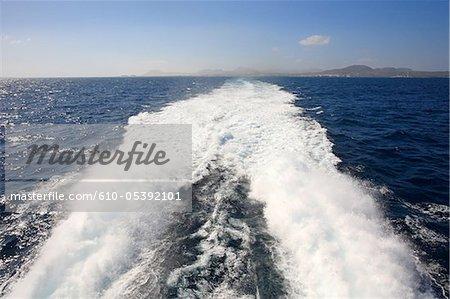 Spain, Canary islands, Lanzarote, ship between Lanzarote and Fuerteventura