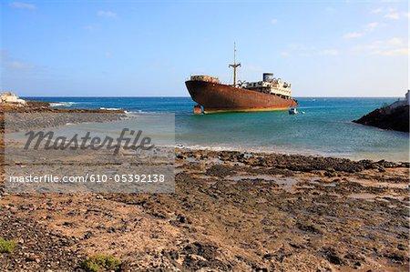 Spain, Canary islands, Lanzarote, Arrecife, wreck