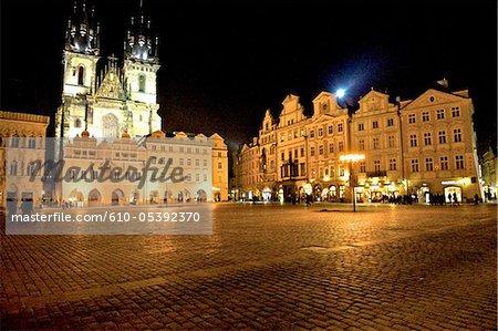 Czech Republic, Prague, staromestske square by night, church of our lady before Tyn