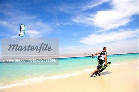 Egypt, Hurghada, near the red sea, kite surf