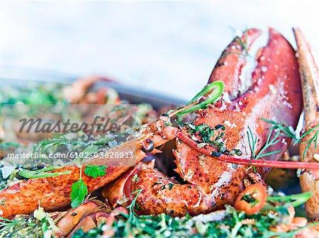 Prepared lobster, close-up, Sweden.