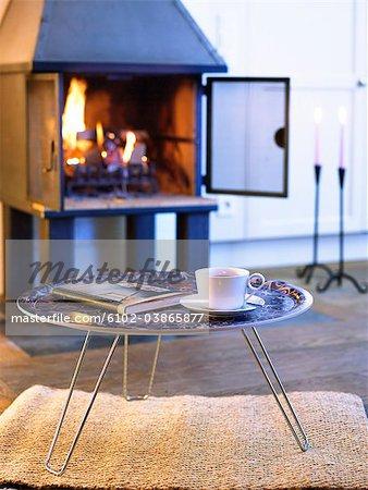 A stove in a livingroom, Sweden.