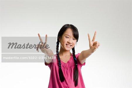 Girl making gestures.