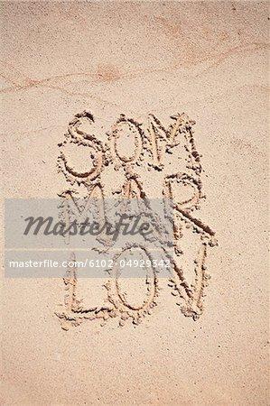 Text written on sand