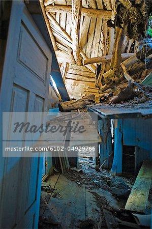 Abandoned and damaged house interior
