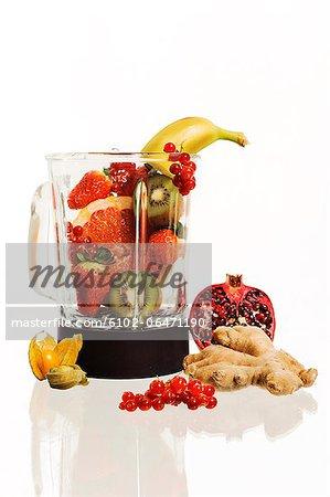 Fruits in blender, studio shot