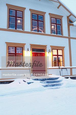 House illuminated at dusk