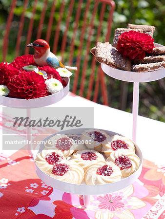 Cookies on cake stand, high angle view