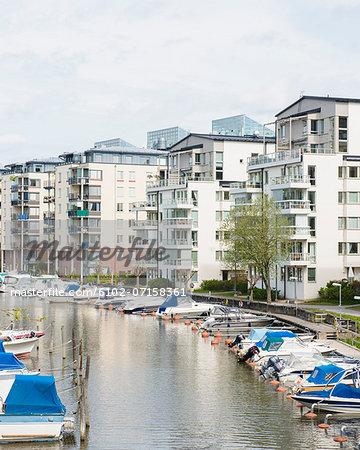 Buildings at canal, Stockholm, Sweden