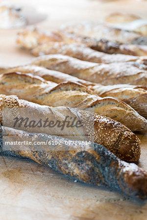 Freshly baked french sticks