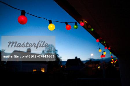 Colorful lights at dusk