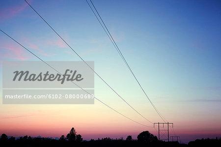 Power-line pylon at dusk