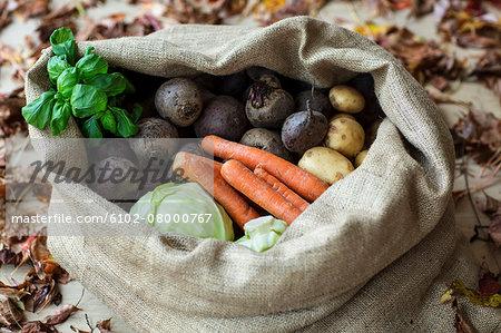 Root vegetables in sack