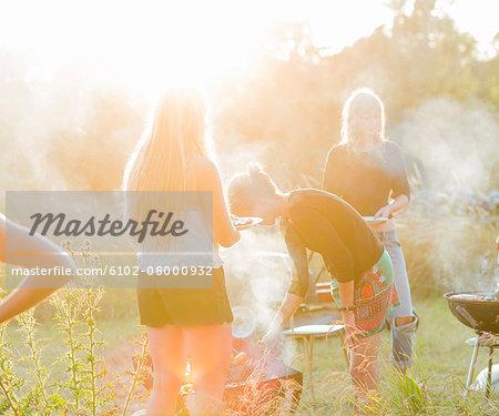 Family having barbecue