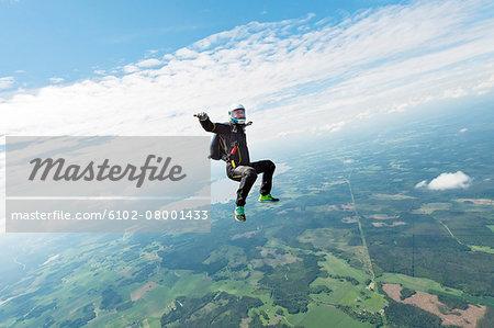 Sky-diver in air