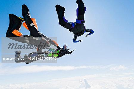 Sky-divers in air