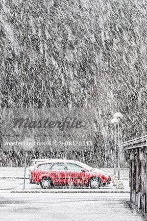 Car on road at winter