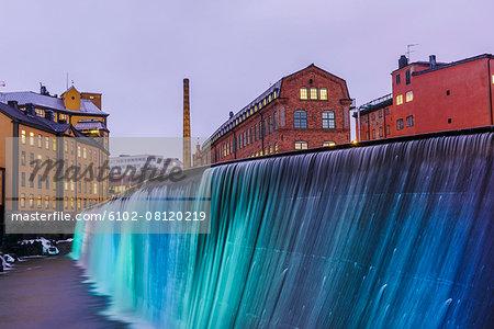 Illuminated Cotton Mill Waterfall