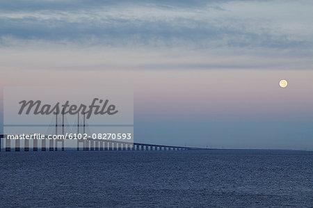 View of bridge at dusk