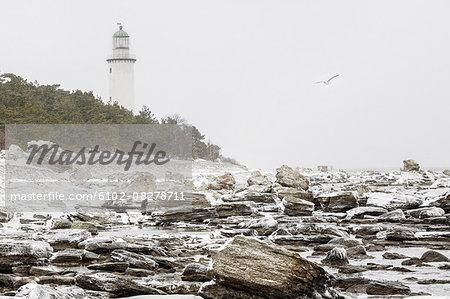 Rocky coast, lighthouse on background