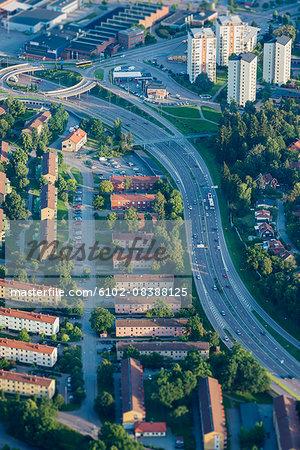 Aerial vie of houses near road