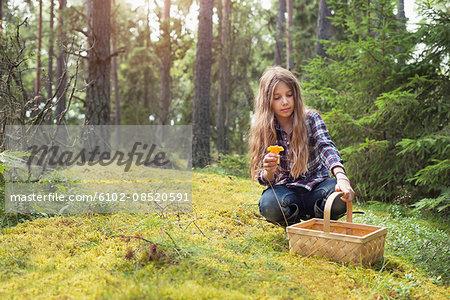 Girl picking up mushroom