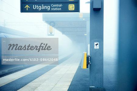 Train platform in fog