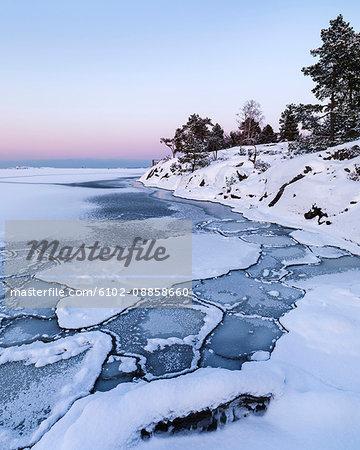 Frozen sea at coast