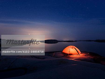 Tent at lake