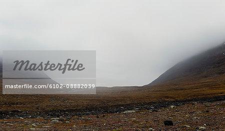 Majestic landscape on foggy day