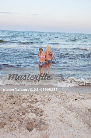 Teenager girls in sea
