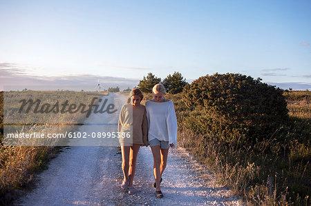 Teenage girls walking