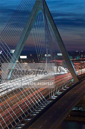 Traffic on a suspension bridge, Leonard P. Zakim Bunker Hill Bridge, Charles River, Boston, Massachusetts, USA