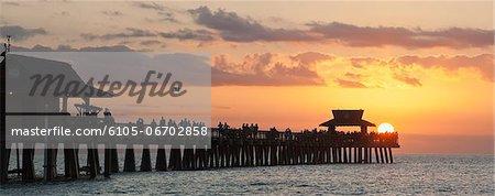 Panoramic view of Naples Pier at sunset, Naples, Florida, USA